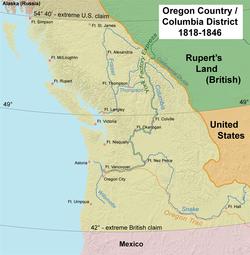 """1818年至1846年,大英帝国和美国""""共同统治""""该区域"""