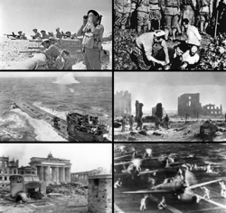 Clockwise from top left: Commonwealth troops in the desert; Chinese civilians being buried alive by Japanese soldiers; Soviet forces during a winter offensive; Carrier-borne Japanese planes readying for take off; Soviet troops fighting in Berlin; A German submarine under attack.