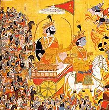 an 1820 painting depicting Arjuna, on the chariot, paying obeisance to Shree Krishna, the charioteer.