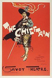 Colourful poster for The Chieftain, showing the figure of a man dressed as a flamboyant bandit with a large, peaked black hat