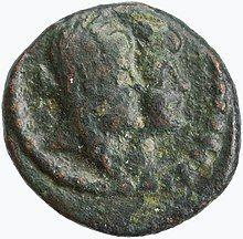 Coin depicting two rulers of Syria, Cleopatra Selene and her son Antiochus XIII
