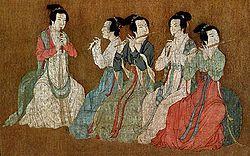 12th century art, Chinese women playing flutes