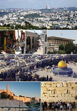 从左上开始:耶路撒冷天际线、玛米拉、旧城与圆顶清真寺、旧城的露天市场、以色列国会、西墙、大卫塔和旧城的城墙