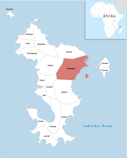 Location of the commune (in red) within Mayotte