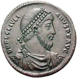 Grey coin depicting bearded man with diadem, facing right. The text around the edges reads D N FL CL IVLIANVS P F AVG, clockwise.