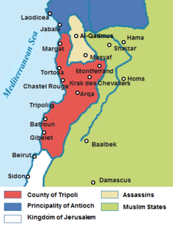 The County of Tripoli in the context of the other states of the Near East in 1135 AD.