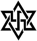 A six pointed star with a swastika inside it