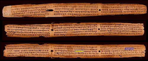 A palm leaf manuscript published in 828 CE with the Sanskrit alphabet