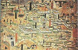 Mogao Cave 61, painting of Mount Wutai monasteries.jpg