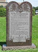 The Ten Commandments on a monument on the grounds of the Texas State Capitol