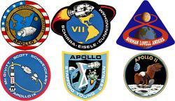 Composite image of six crewed Apollo development mission patches, from Apollo1 to Apollo 11.
