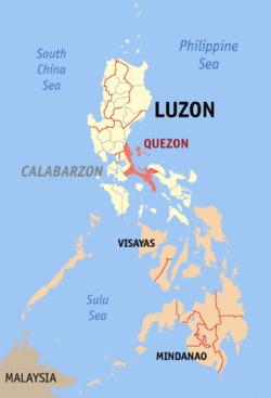 奎松省于菲律宾位置图