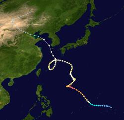 超强台风丽妲的路径图