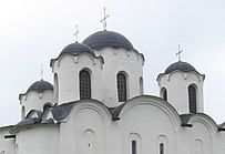 Exterior picture of the domes of Saint Nicholas Cathedral in Novgorod