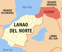 伊利甘在菲律宾上的位置