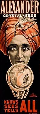 """Antique carnival poster: """"Alexander Crystal-Seer: Knows, Sees, Tells All"""""""