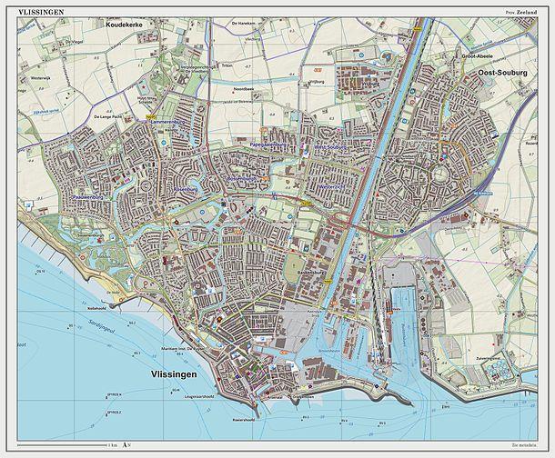 Topographic map image of Vlissingen (city), Sept. 2014