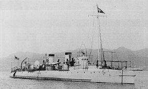 IJN torpedo boat HAYABUSA in 1900 at Kobe.jpg