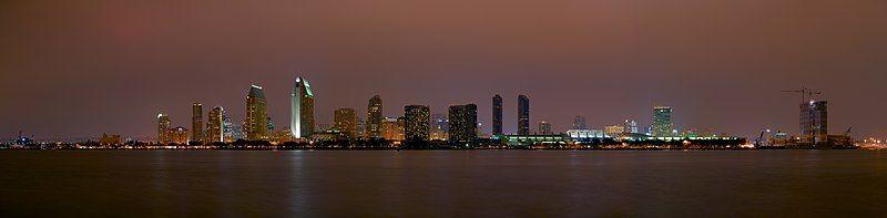 圣地亚哥市中心天际线,夜景,2007年11月