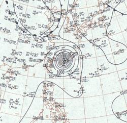 台风莎拉的地面天气图像