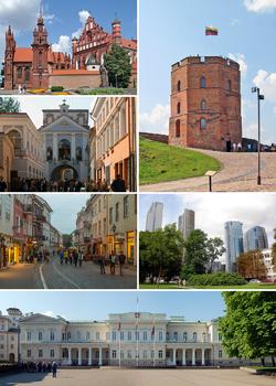 由右上方起顺时针:格迪米纳斯塔、维尔纽斯商业区(英语:Šnipiškės)、总统府、城堡街、黎明门、维尔纽斯主教座堂