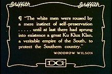 """""""The white men were roused by a mere instinct of self-preservation ... until at last there had sprung into existence a great Ku Klux Klan, a veritable empire of the South, to protect the Southern country."""""""