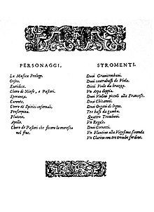 """A decorated page showing two lists, respectively headed """"Personaggi"""" (a list of characters) and """"Stromenti"""""""