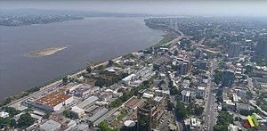 An aerial view of Brazzaville towards the Congo River and, in the distance, Kinshasa.