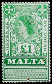Malta 1954 Queen Elizabeth II revenue stamp.png