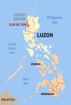 南伊罗戈斯省的地图,该省以高亮度标示