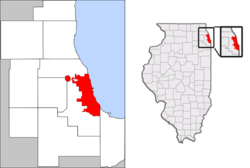 在芝加哥都市区和伊利诺斯州的位置
