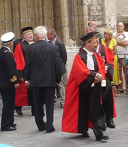 Image of Belgian judges leaving Saint Bavo's Cathedral, in Ghent after the solemn Te Deum on the Belgian National Day