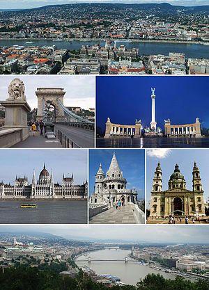 由上至下、由左至右:市景与多瑙河、塞切尼链桥、英雄广场、匈牙利国会大厦、渔人堡、圣伊什特万圣殿、由盖勒特山眺望布达佩斯全景。