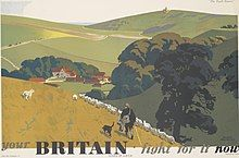 From the famous series of four posters by Newbould. An example of how an inter-war travel poster style was used unchanged during the war to arouse patriotic feelings for an idealised pastoral Britain, defined by the lan Art.IWMPST14887.jpg