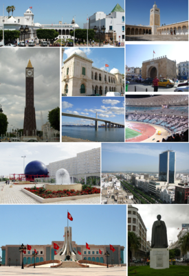 Top left:Tunis Governmental Palace, Top right:Al-Zaytuna Mosque, Second left:November 7 Clock Tower, Second upper middle:Sadiki College, Second lower middle:Rades-La Goulette Bridge, Second upper right:Bab Bahr, Second lower right: Rades Olympic Stadium (Stade Olympique de Rades), Third left:Tunisia Science Museum (Cité des sciences), Third right:a view of Avenue Habib Bourguiba, Bottom left:Tunis City Hall (Hôtel de ville de Tunis), Bottom right:Statue of Ibn Khaldoun