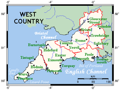 One interpretation of the West Country, shown on this map as identical to the South West region of England, incorporating the counties of Cornwall, Devon, Dorset, Somerset, Bristol, Wiltshire and Gloucestershire.