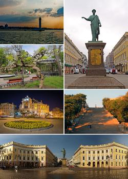 逆时针:阿尔芒-埃曼纽尔·迪普莱西纪念碑、港口灯塔、城市花园、歌剧和芭蕾舞剧院、波将金阶梯、黎塞留广场