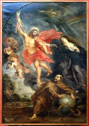 Rubens e bottega, l'intercessione della vergine e di san francesco arrestano la folgore divina, 01.JPG
