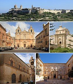From top: Skyline, Cathedral, Main Gate, Palazzo Santa Sofia, Palazzo Vilhena