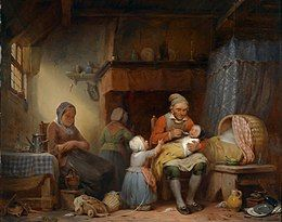 Painting of a man feeding a baby, two women and another child