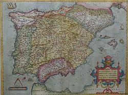 1570 map of the Iberian Peninsula