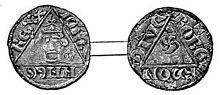 A photograph of the front and back of a silver penny, the design dominated by a triangle in the centre of each coin. One side shows King John's head.