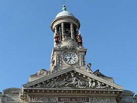 The bell tower of the town hall, where Martin and Martine[fr] mark the hours