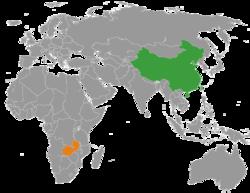 China和Zambia在世界的位置