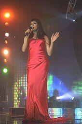 Photograph of Dana International during a performance