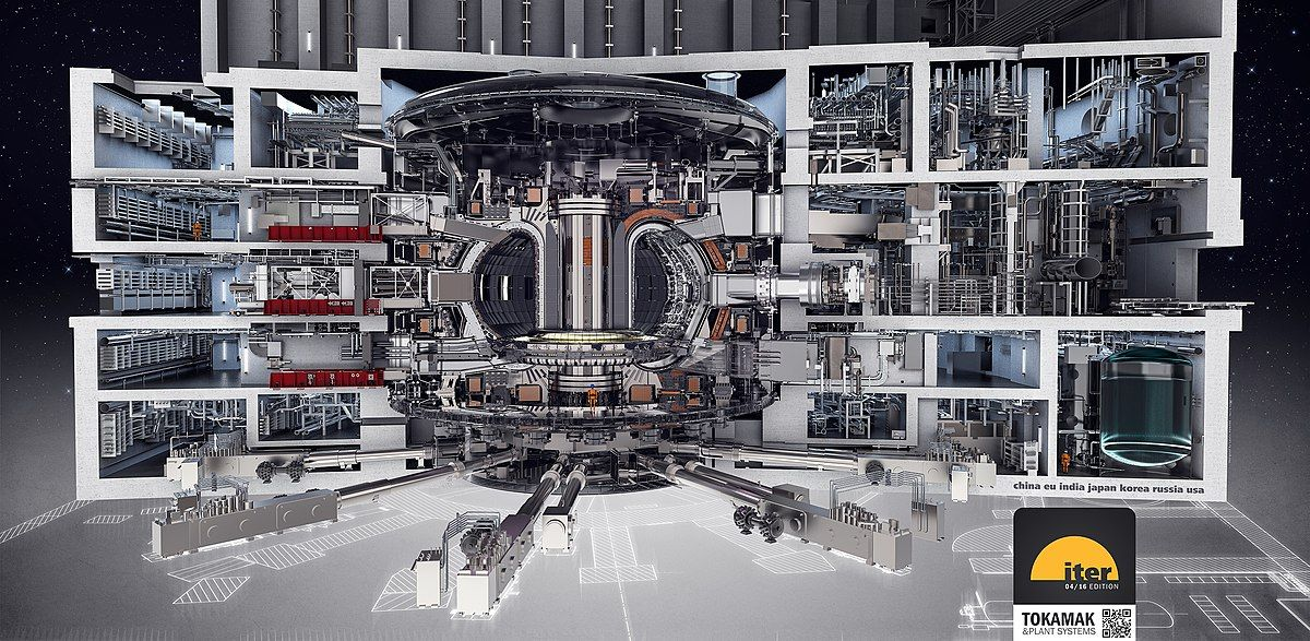 Drawing of the ITER tokamak and integrated plant systems