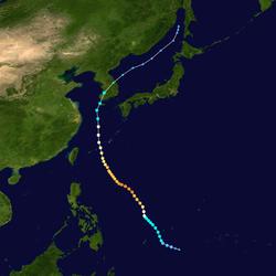 超强台风艾云尼的路径图