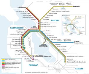 湾区捷运工作日和周六运营示意图, 2020年6月13日起效。