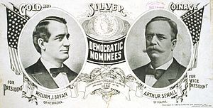 1896 Democratic campaign poster with nominees William J. Bryan of Nebraska for President and Arthur Sewall of Maine for Vice President