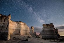 Milky Way over Monument Rocks, Kansas, USA